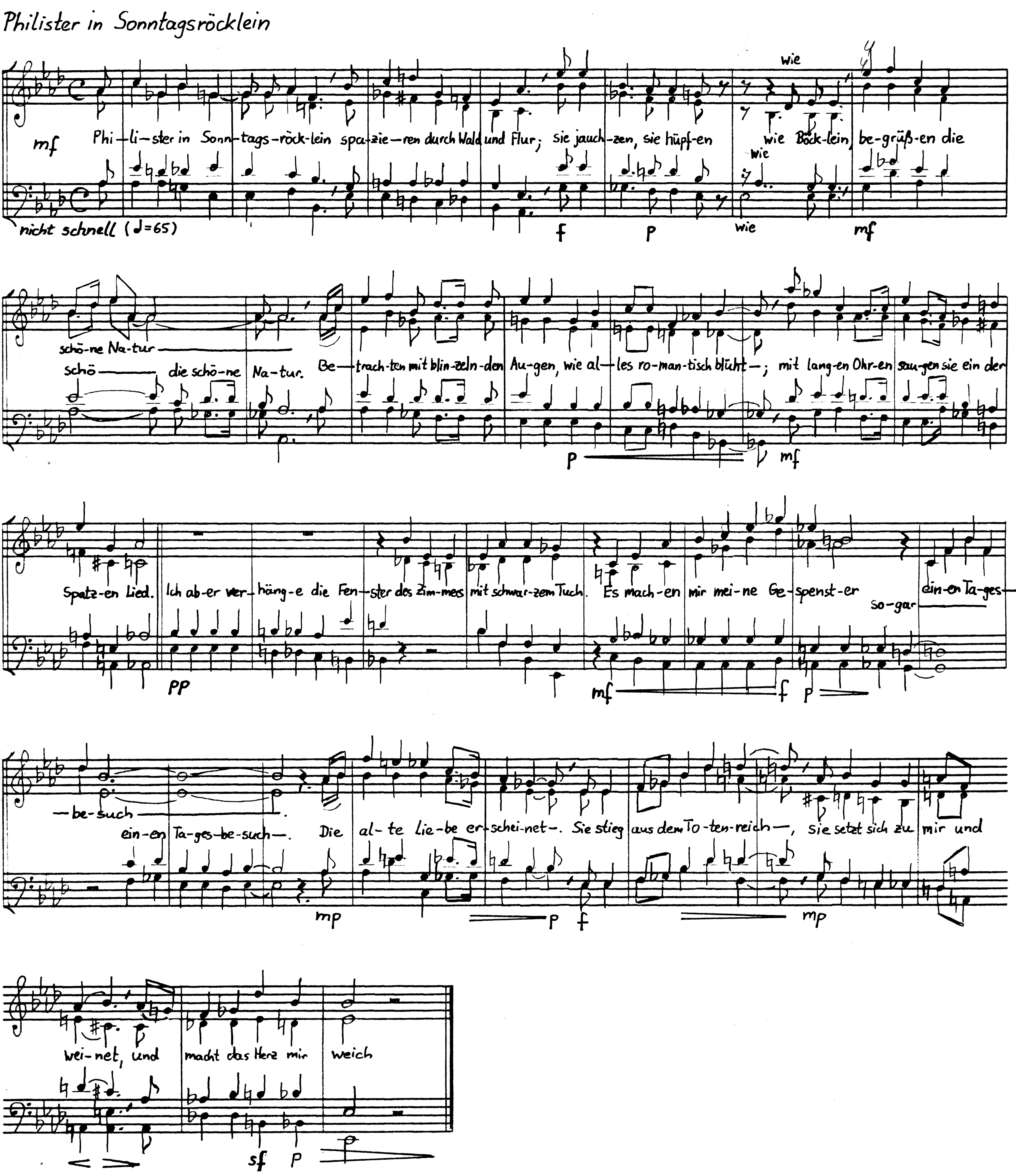 """aus: Jörg Meyer: """"Heine-Lieder"""" für gemischten Chor, op. 20, August 1985"""